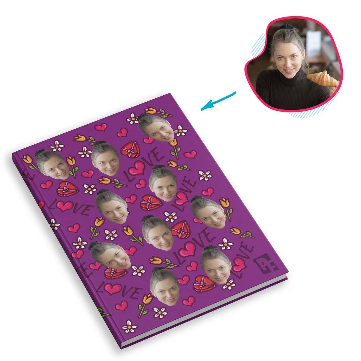 purple Hearts and Flowers Notebook personalized with photo of face printed on them