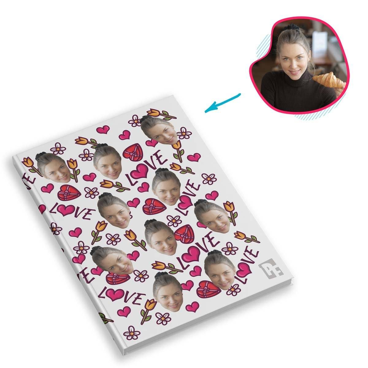 white Hearts and Flowers Notebook personalized with photo of face printed on them