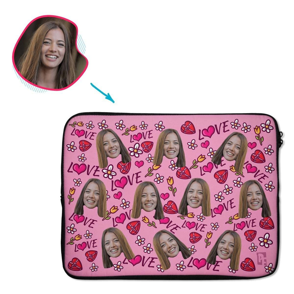 pink Hearts and Flowers laptop sleeve personalized with photo of face printed on them