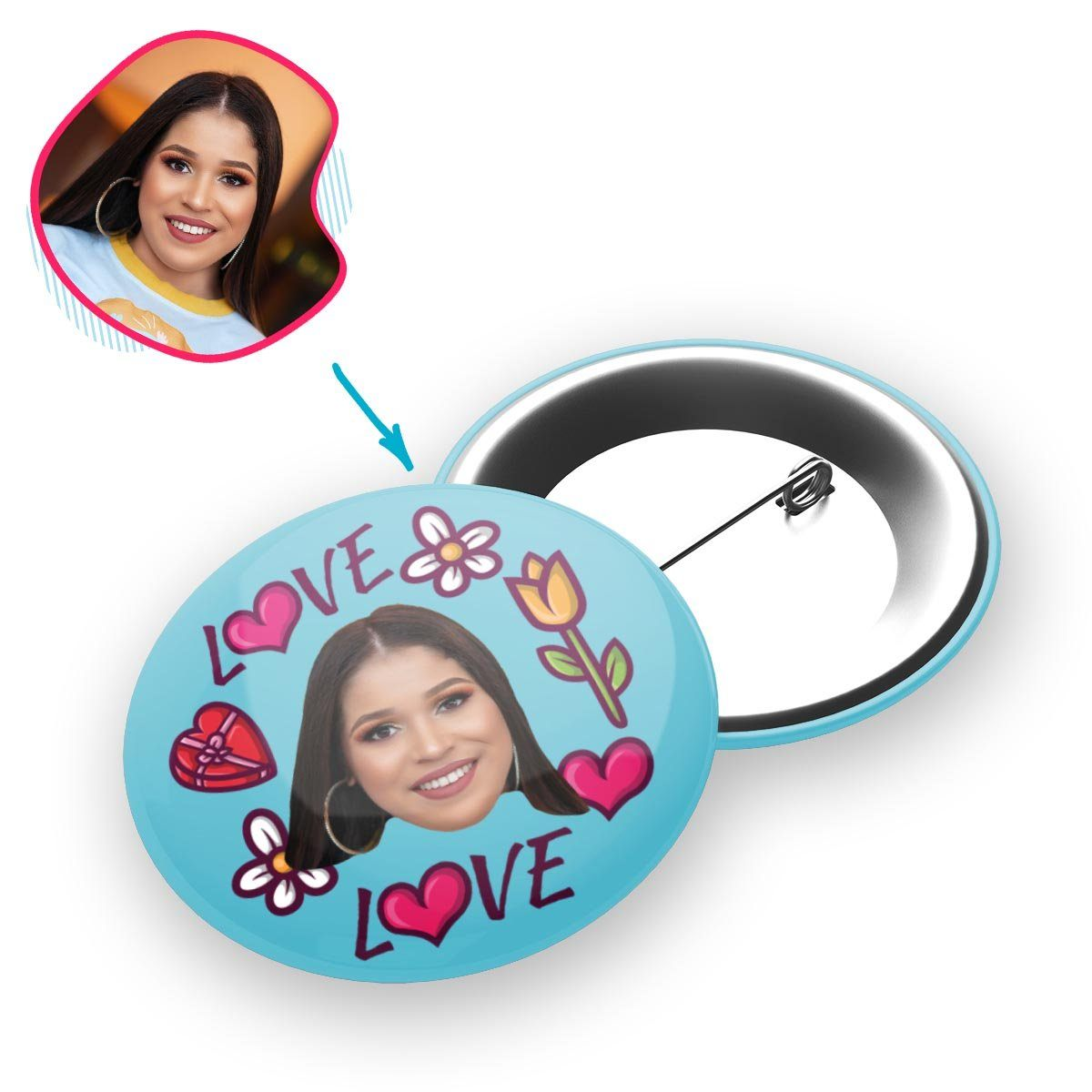 blue Hearts and Flowers pin personalized with photo of face printed on it