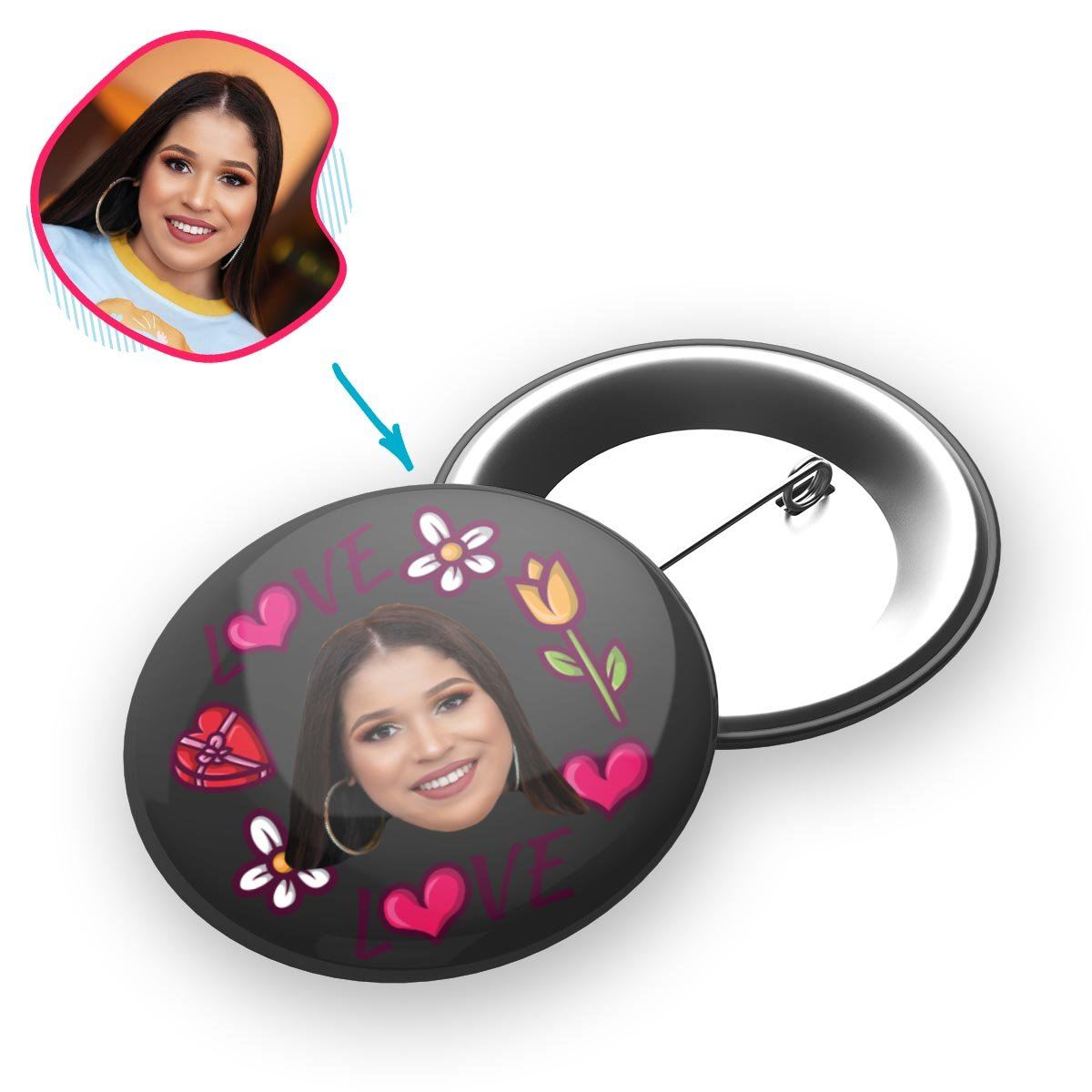 dark Hearts and Flowers pin personalized with photo of face printed on it