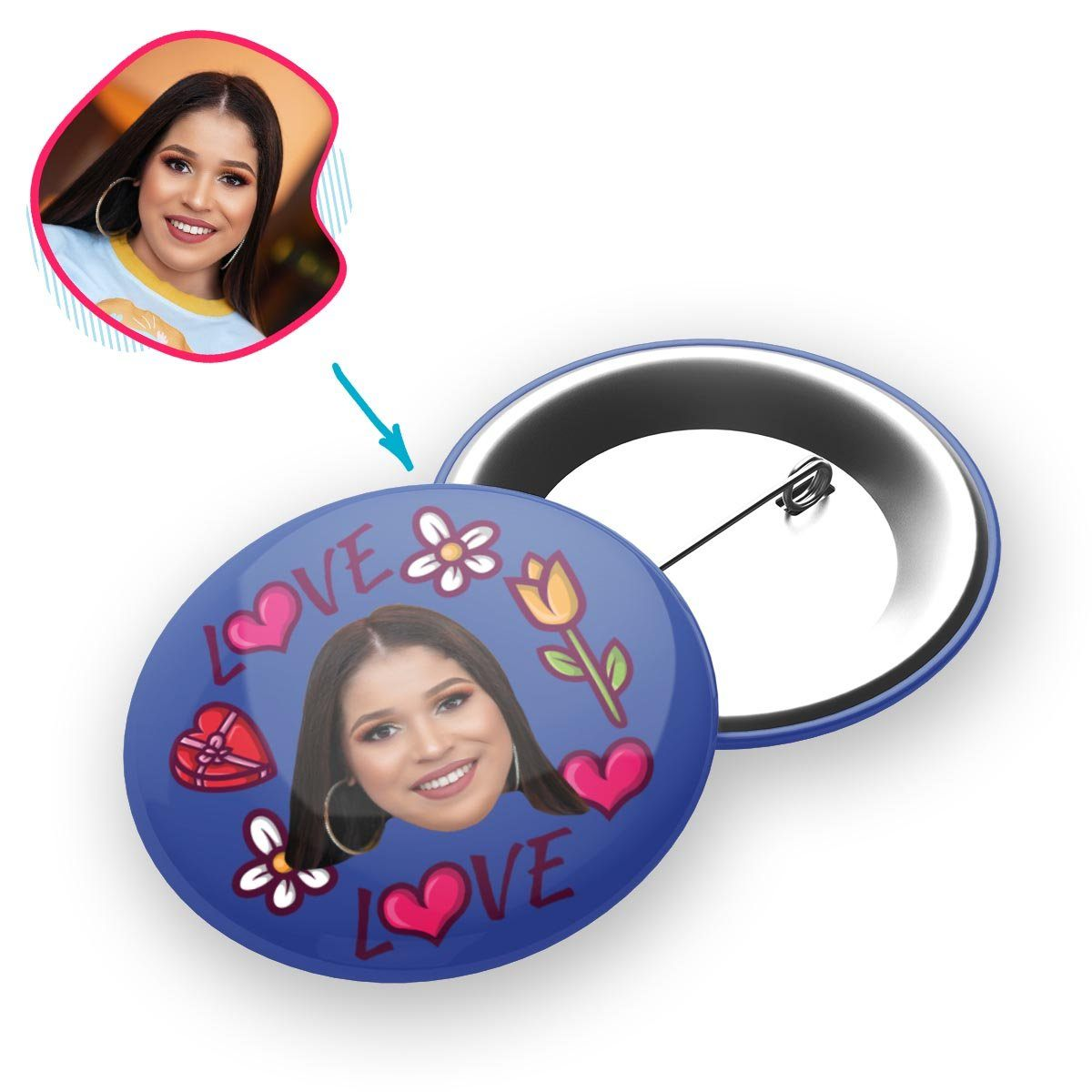 darkblue Hearts and Flowers pin personalized with photo of face printed on it