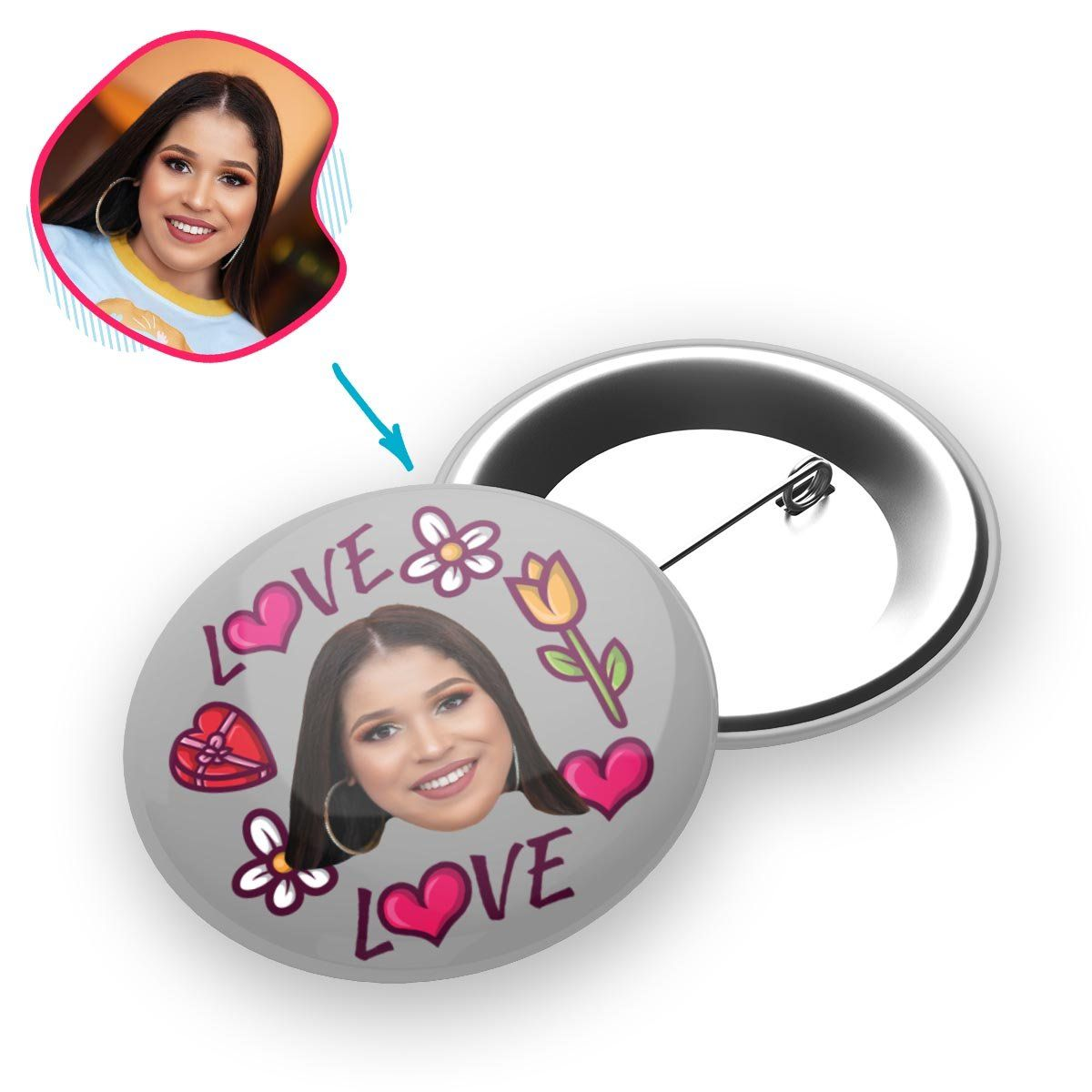 grey Hearts and Flowers pin personalized with photo of face printed on it