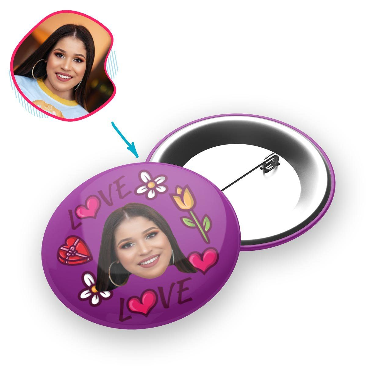 purple Hearts and Flowers pin personalized with photo of face printed on it