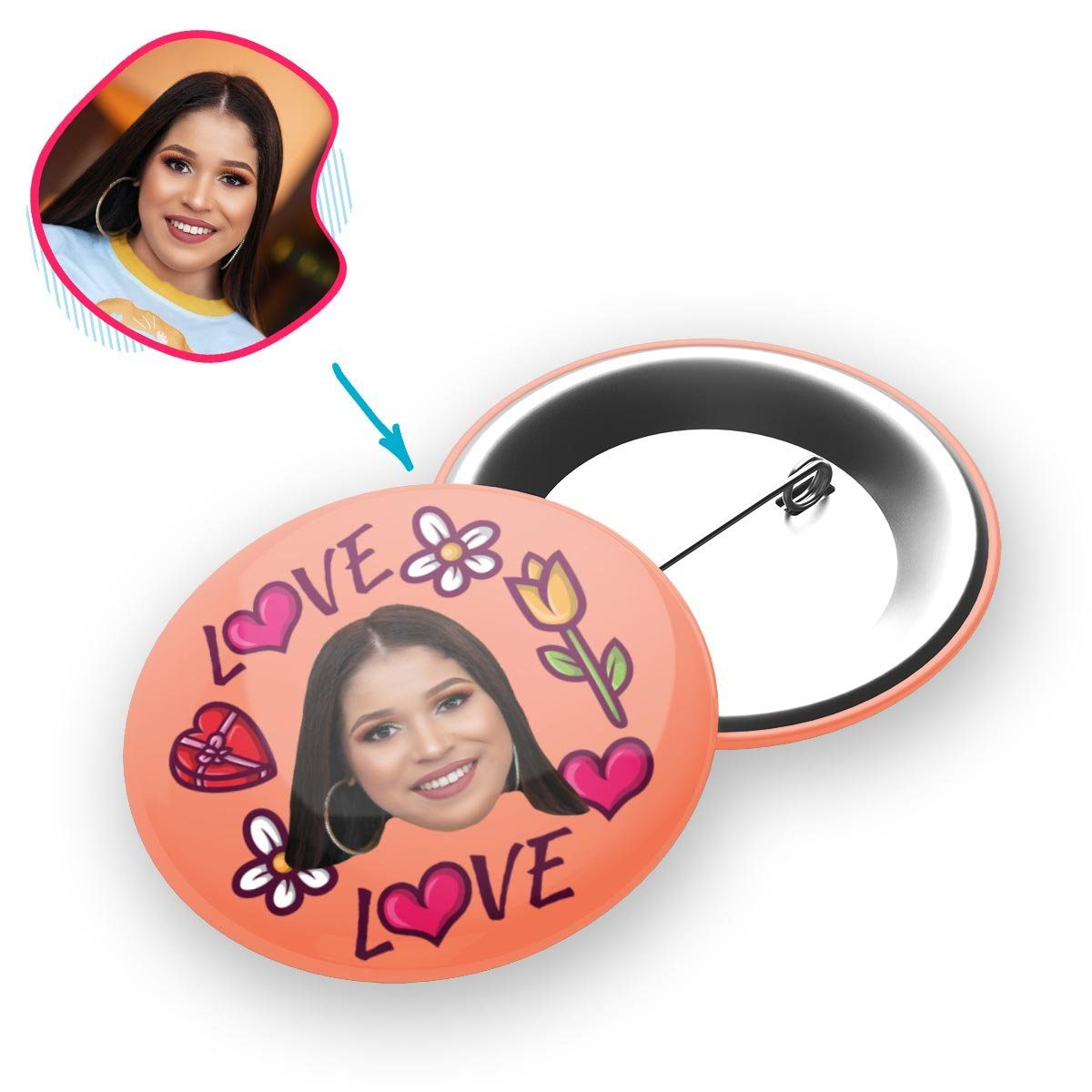 salmon Hearts and Flowers pin personalized with photo of face printed on it