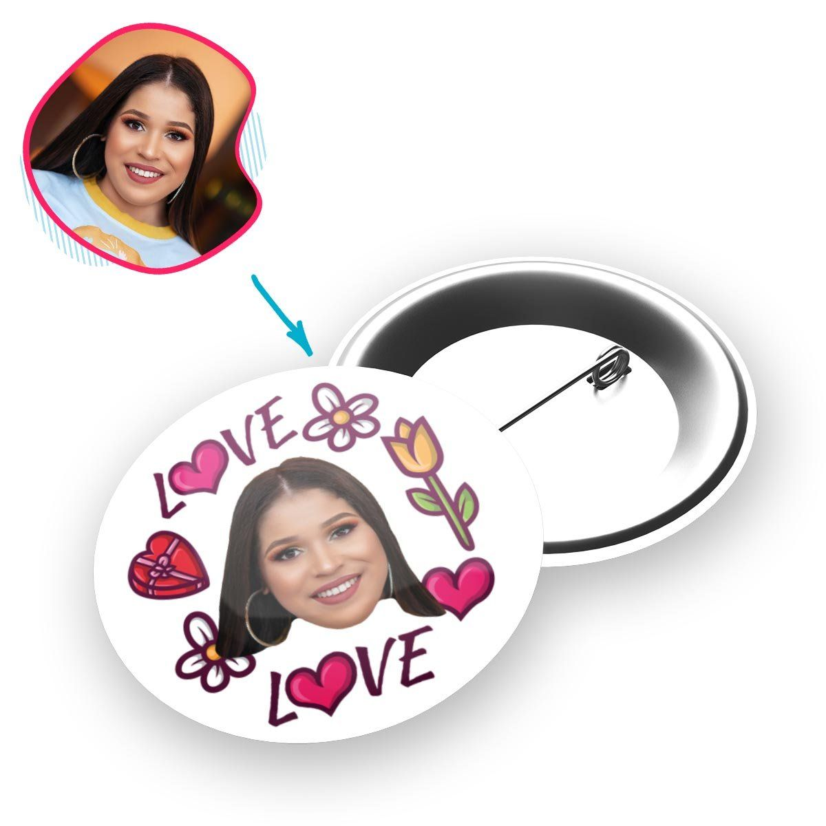 white Hearts and Flowers pin personalized with photo of face printed on it