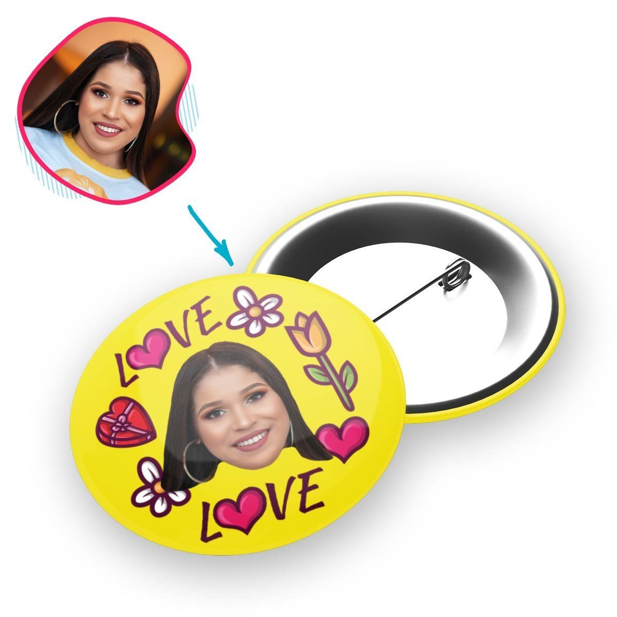 yellow Hearts and Flowers pin personalized with photo of face printed on it