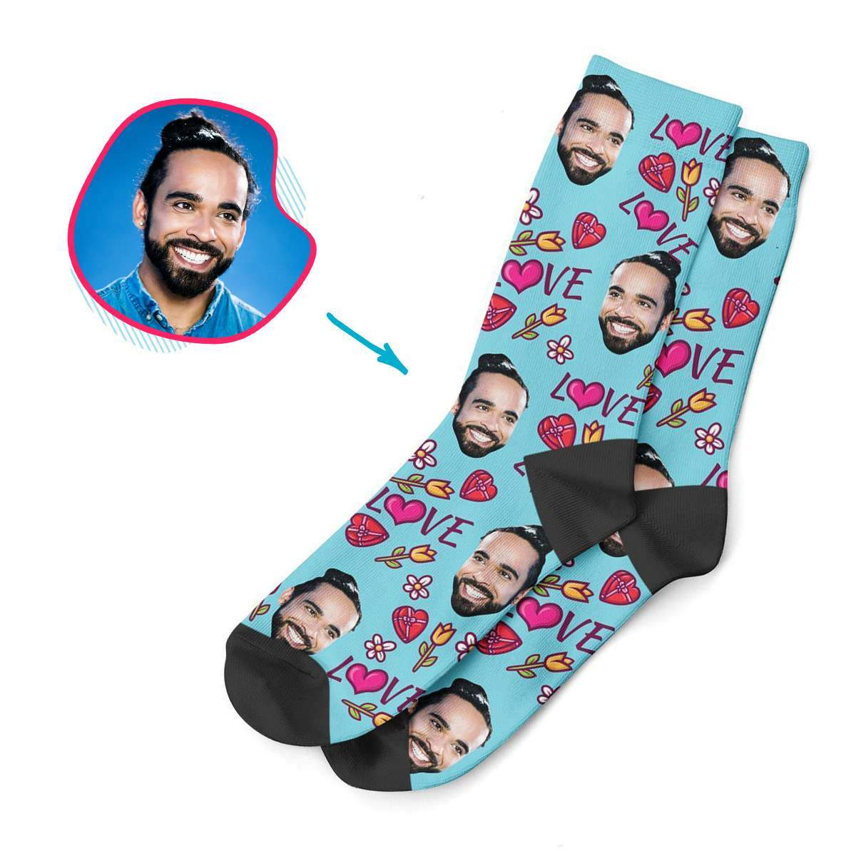 blue Hearts and Flowers socks personalized with photo of face printed on them
