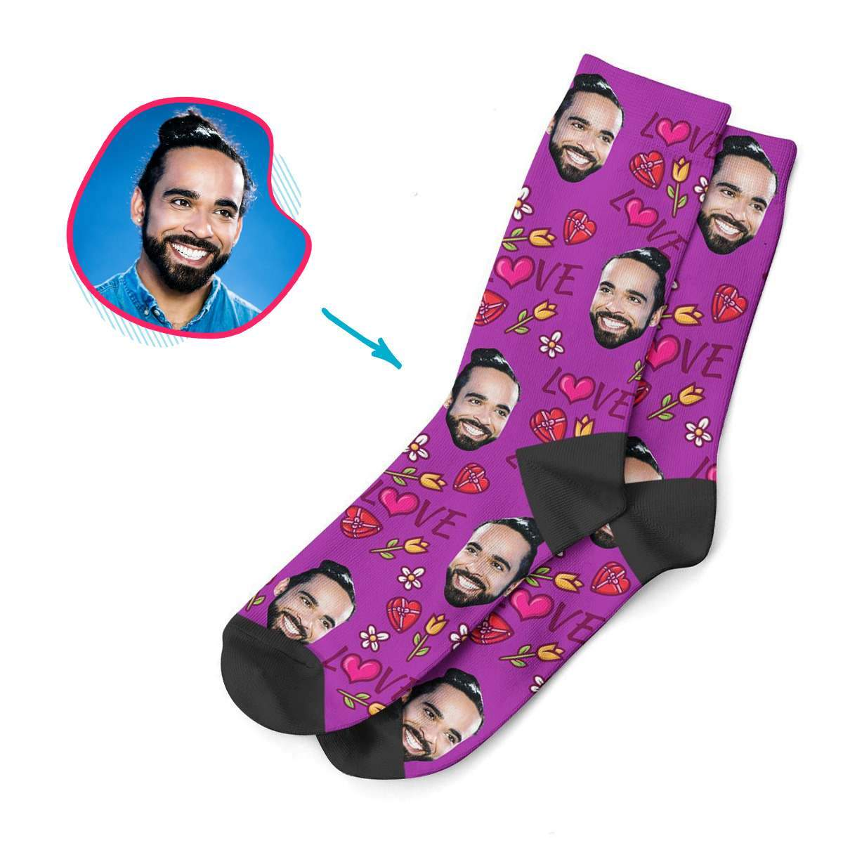 purple Hearts and Flowers socks personalized with photo of face printed on them