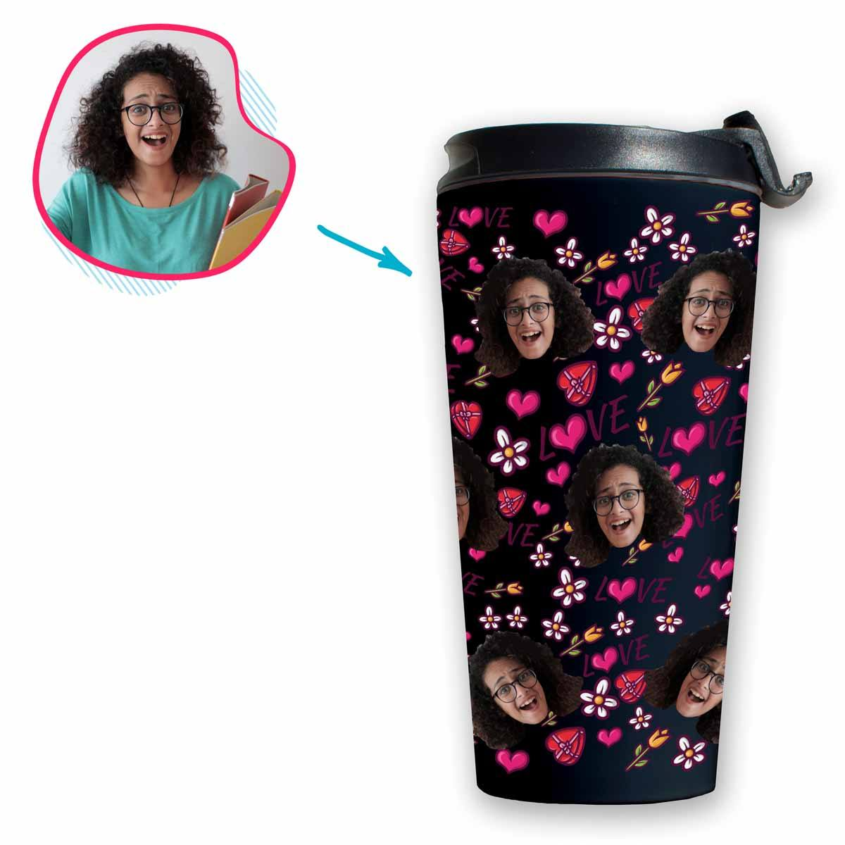 dark Hearts and Flowers travel mug personalized with photo of face printed on it