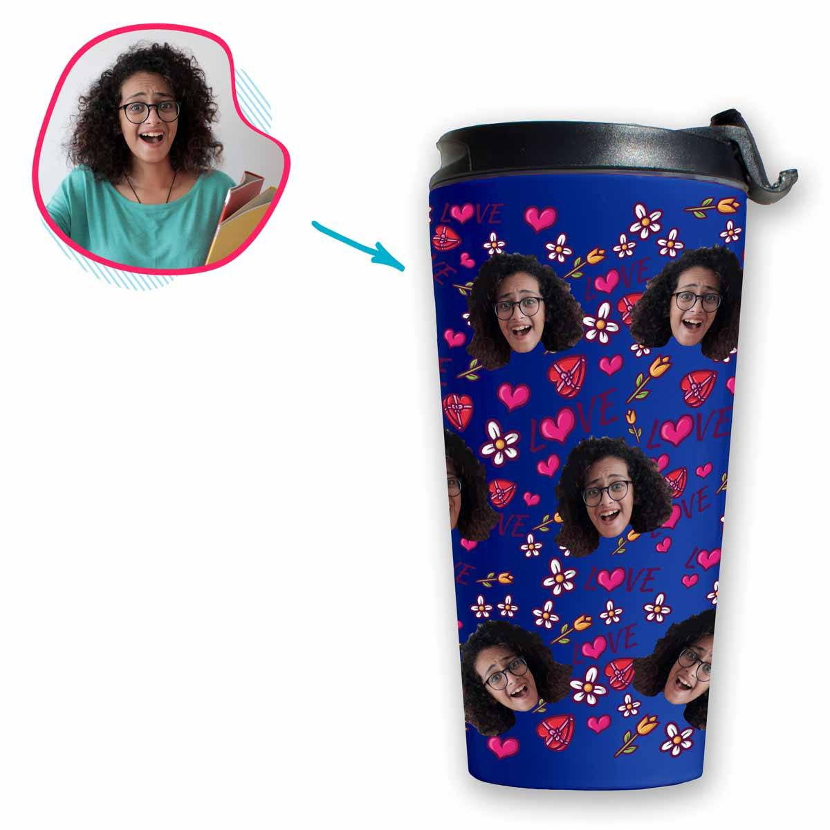 darkblue Hearts and Flowers travel mug personalized with photo of face printed on it
