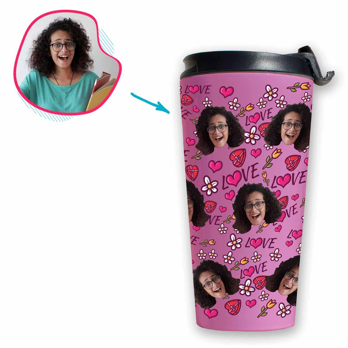 Hearts and Flowers Personalized Travel Mug