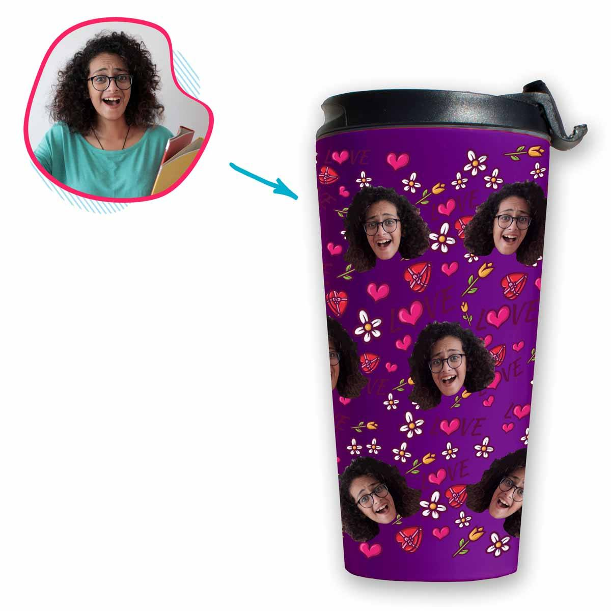 purple Hearts and Flowers travel mug personalized with photo of face printed on it