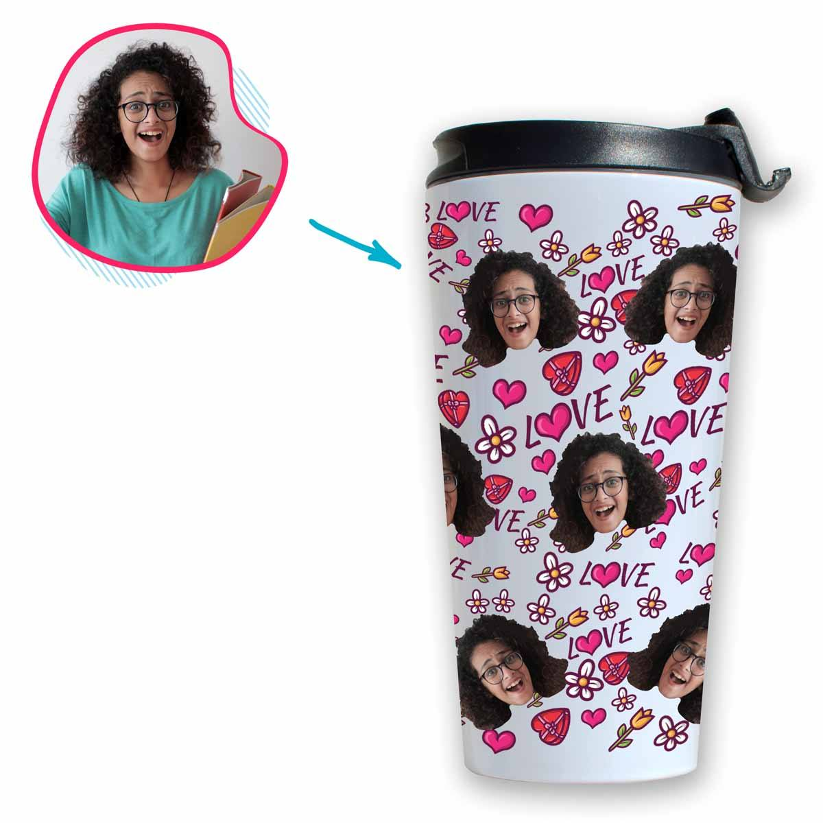 white Hearts and Flowers travel mug personalized with photo of face printed on it