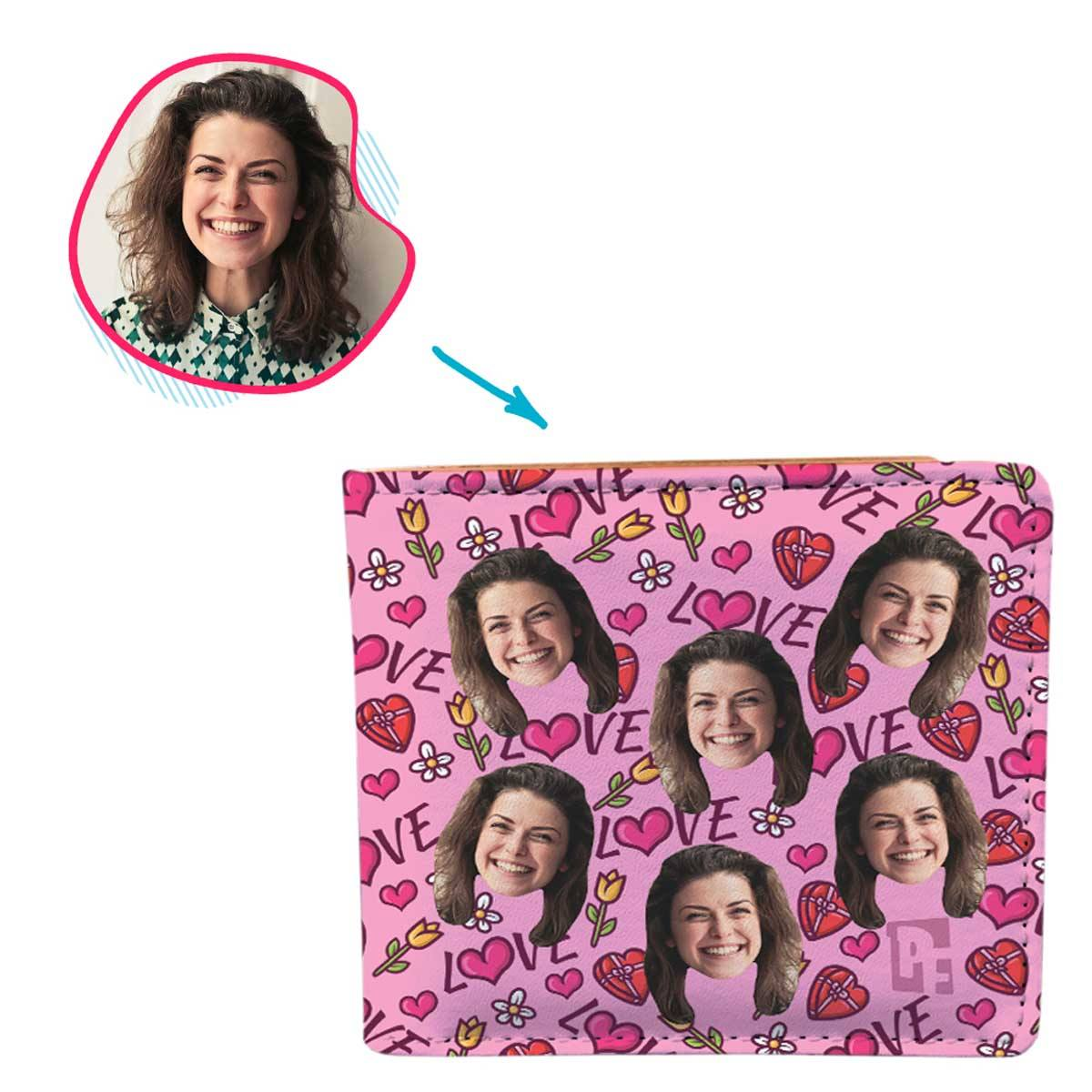 pink Hearts and Flowers wallet personalized with photo of face printed on it