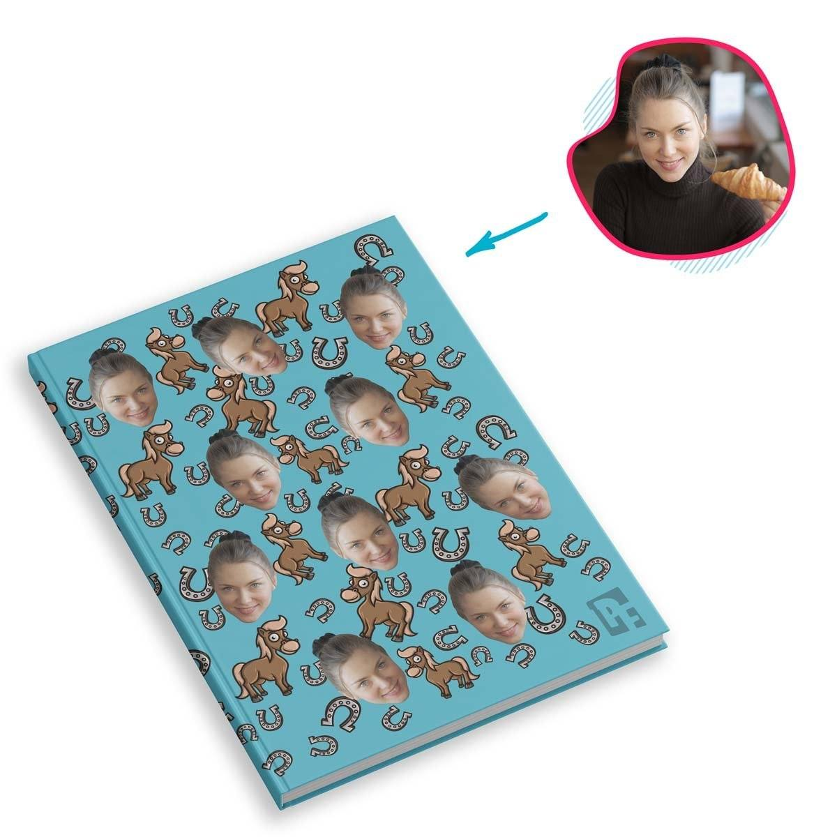 blue Horse Notebook personalized with photo of face printed on them