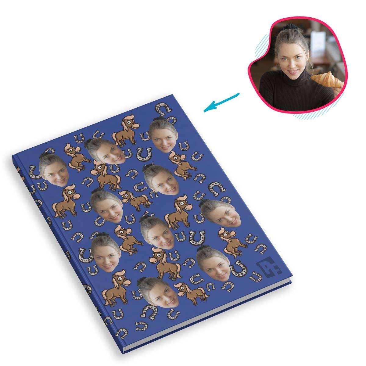 darkblue Horse Notebook personalized with photo of face printed on them