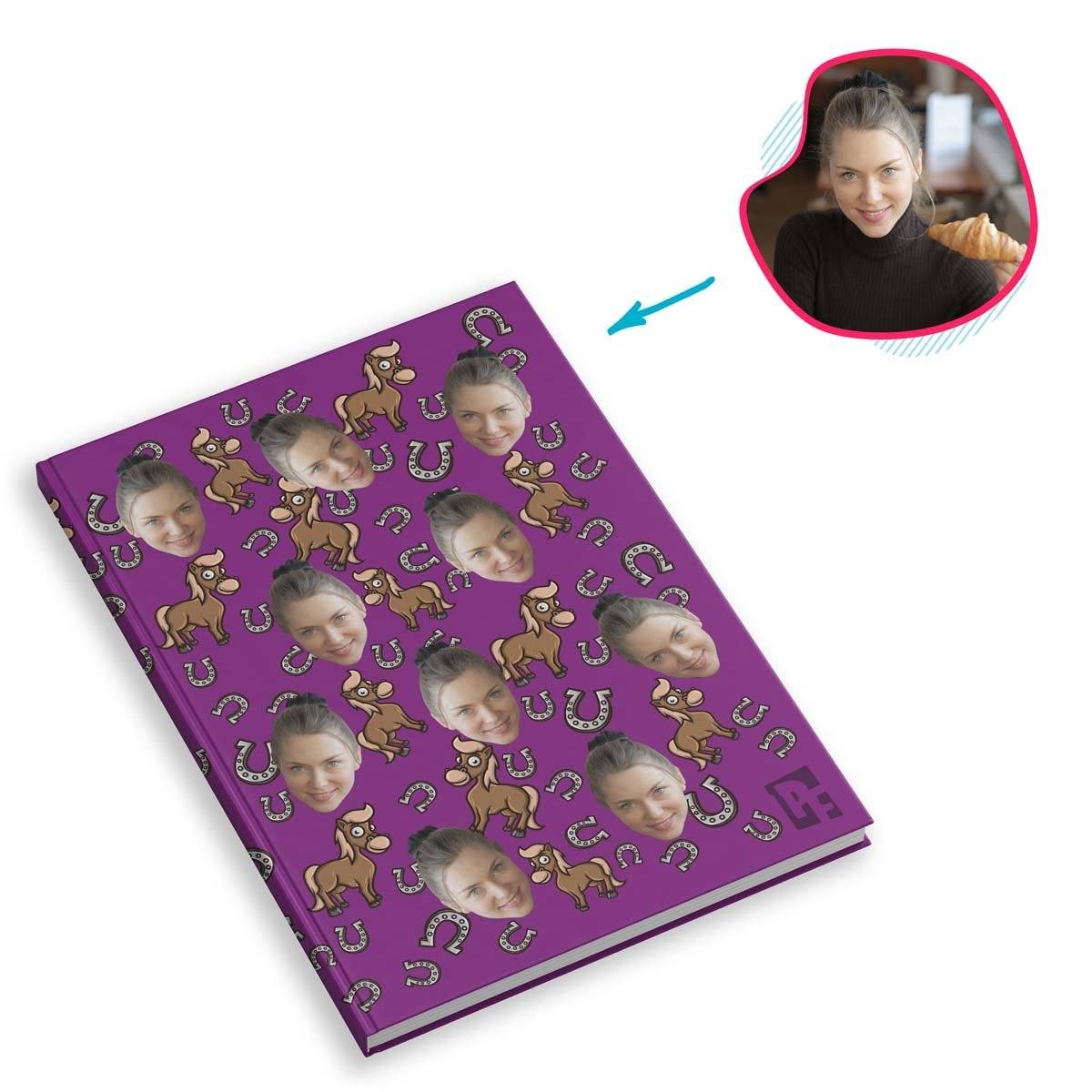 purple Horse Notebook personalized with photo of face printed on them