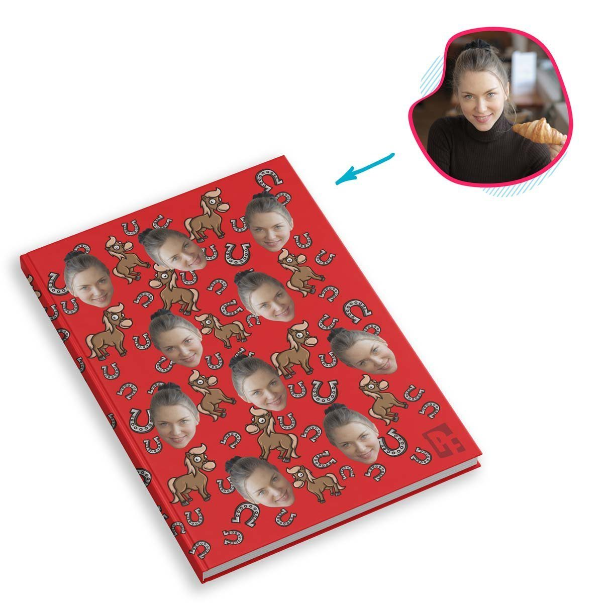 red Horse Notebook personalized with photo of face printed on them