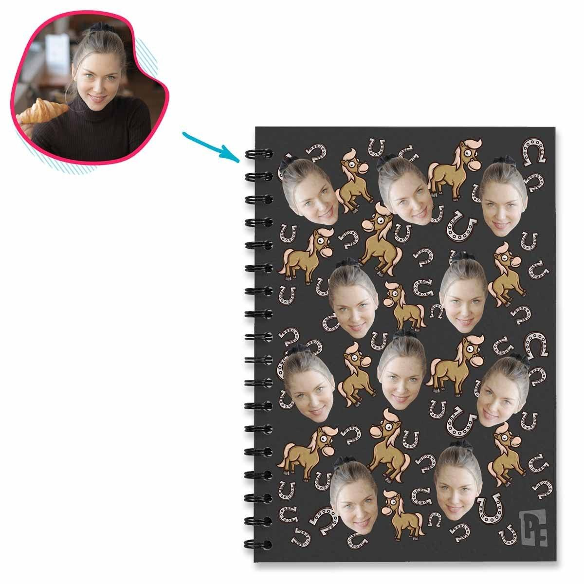 dark Horse Notebook personalized with photo of face printed on them