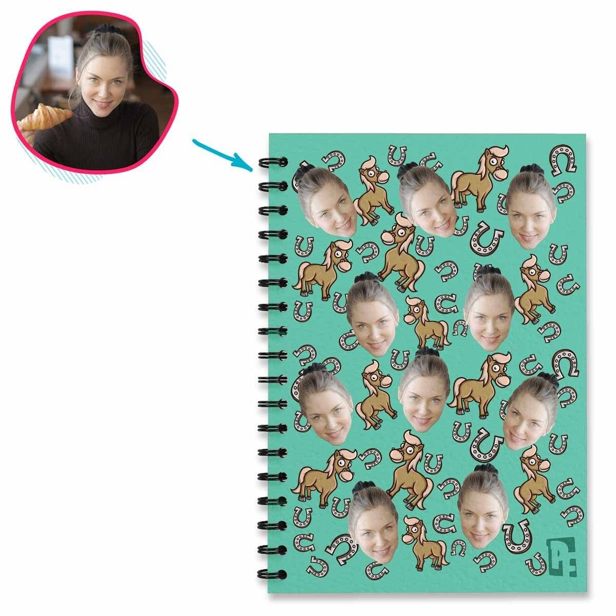 mint Horse Notebook personalized with photo of face printed on them