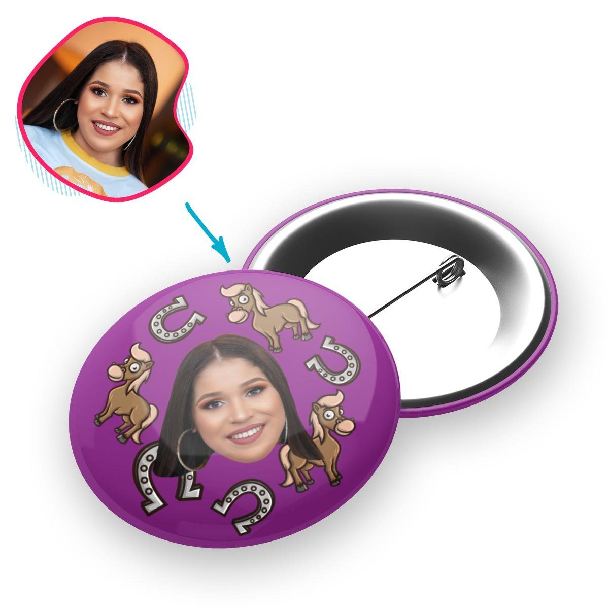 purple Horse pin personalized with photo of face printed on it