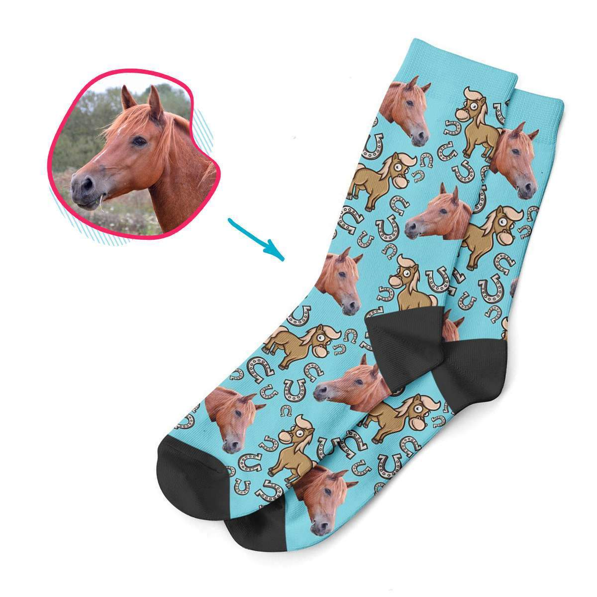 blue Horse socks personalized with photo of face printed on them