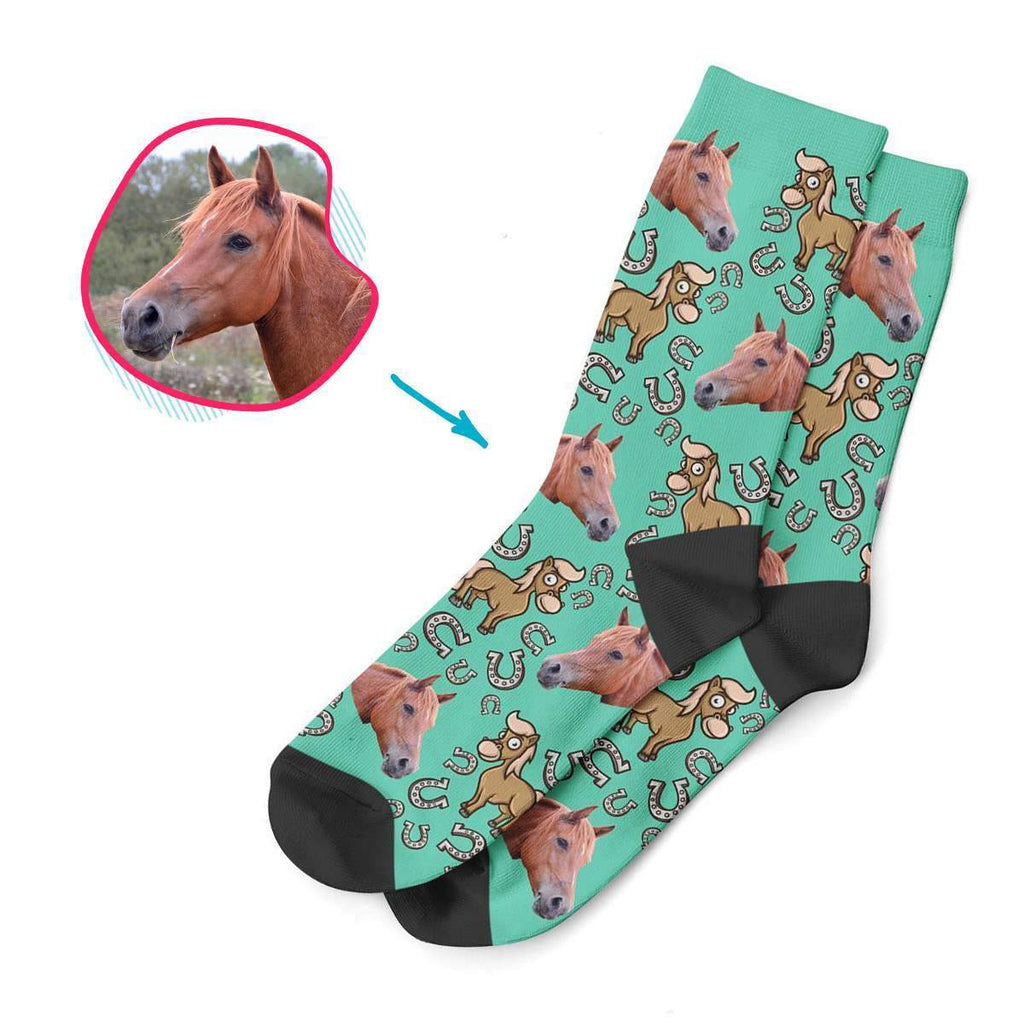 mint Horse socks personalized with photo of face printed on them
