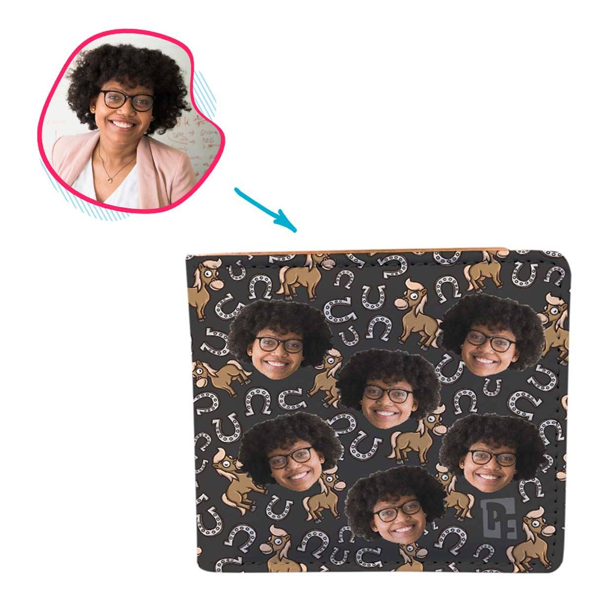 dark Horse wallet personalized with photo of face printed on it