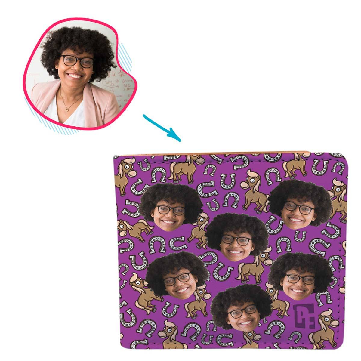 purple Horse wallet personalized with photo of face printed on it