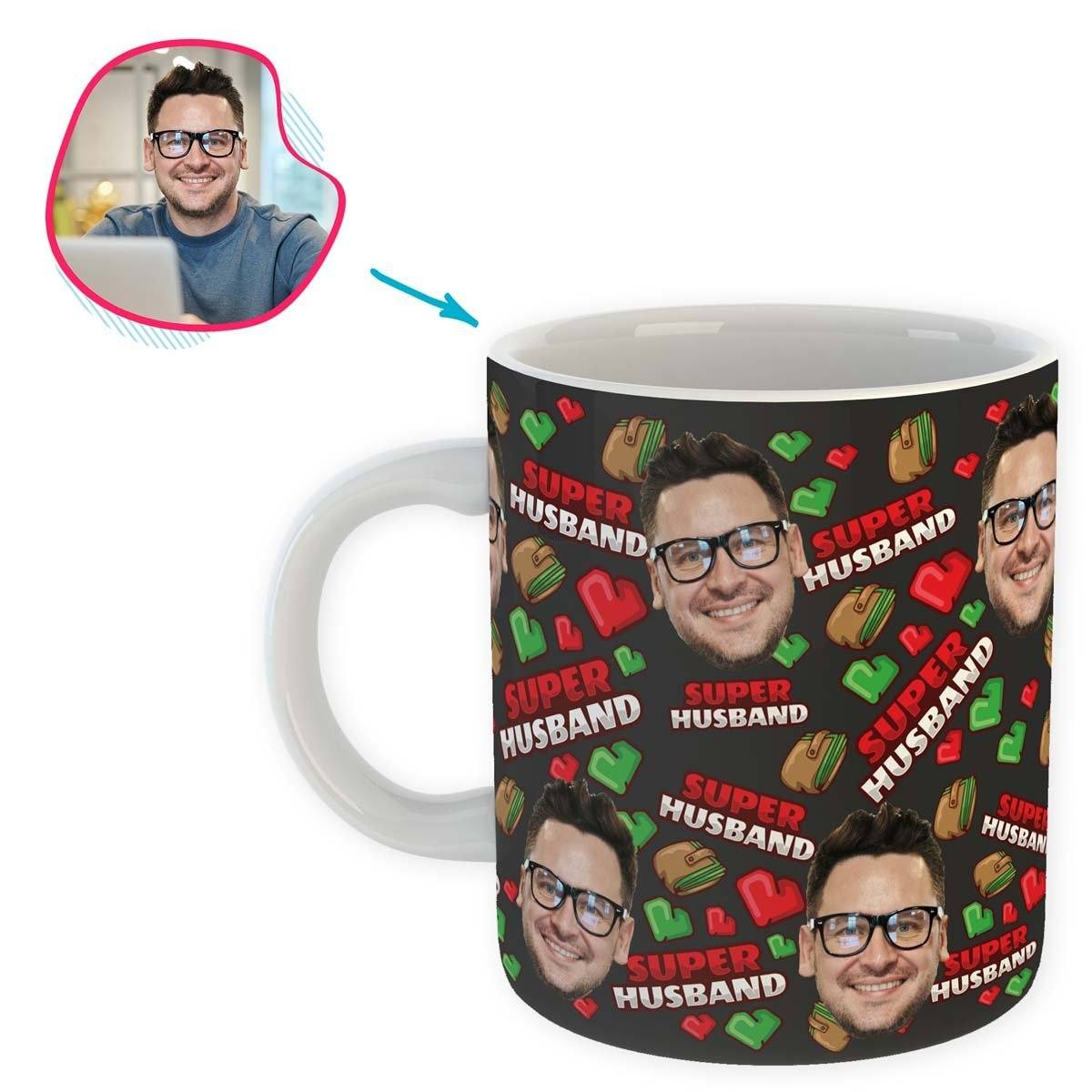 Dark Husband personalized mug with photo of face printed on it