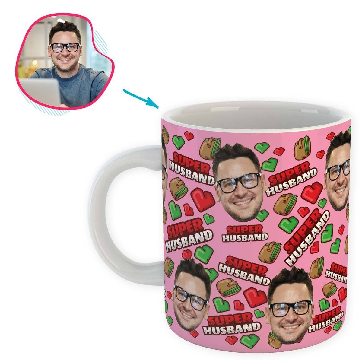 Pink Husband personalized mug with photo of face printed on it