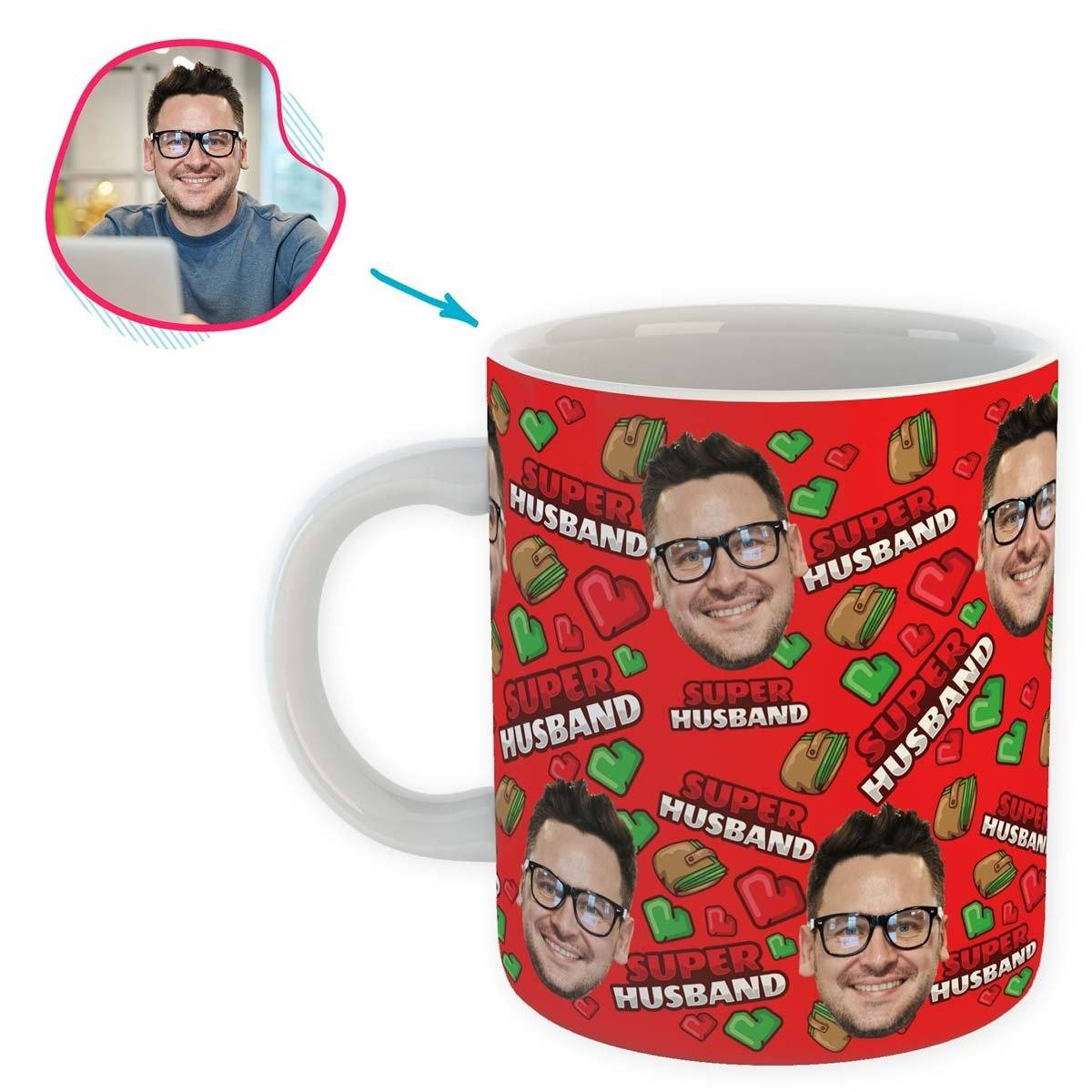 Red Husband personalized mug with photo of face printed on it