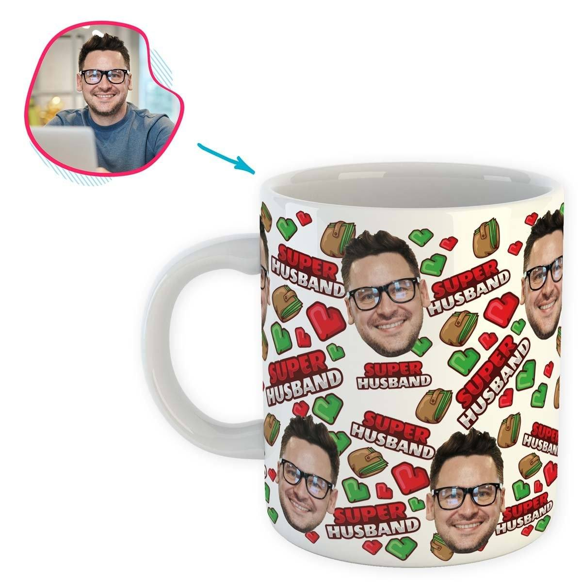 White Husband personalized mug with photo of face printed on it