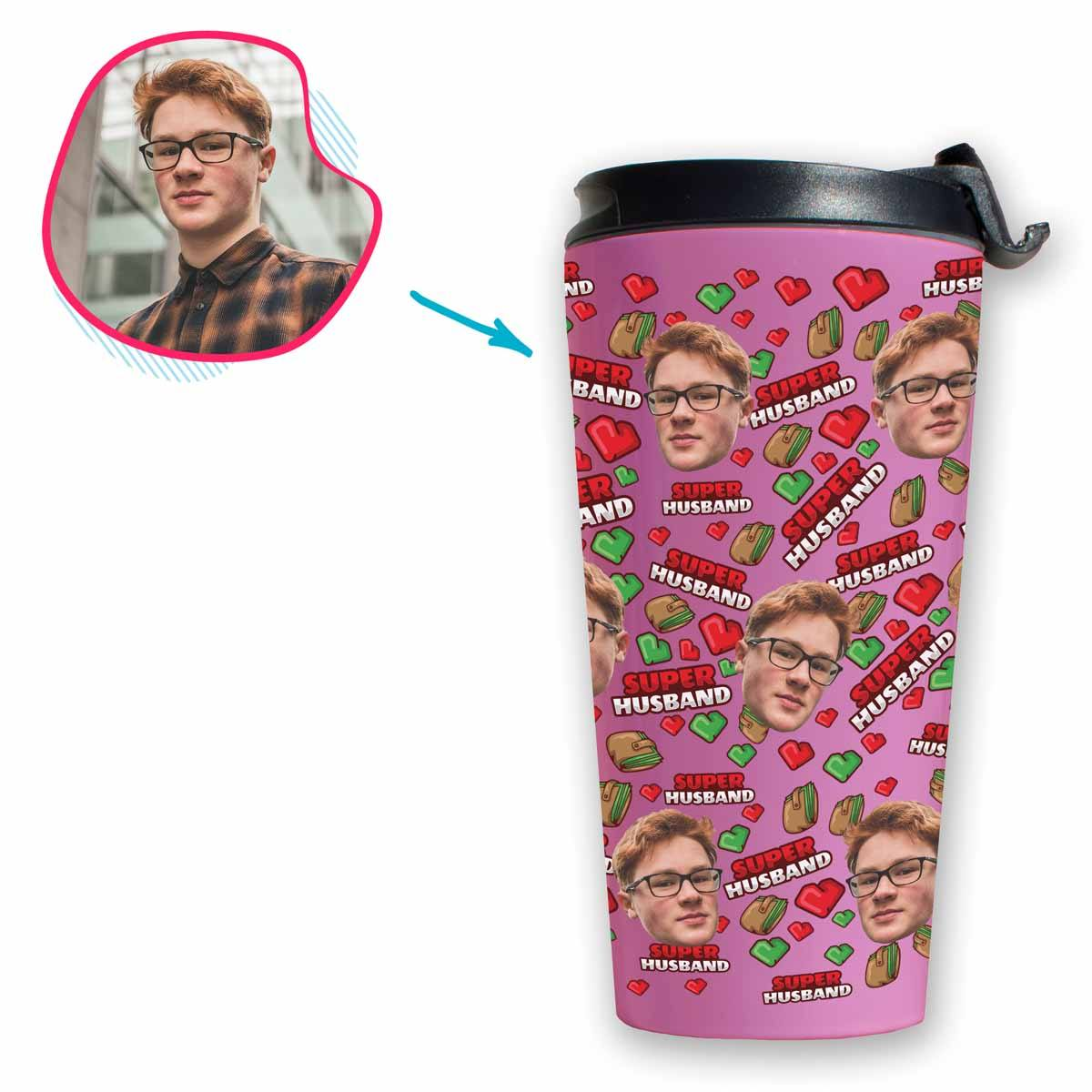 Pink Husband personalized travel mug with photo of face printed on it