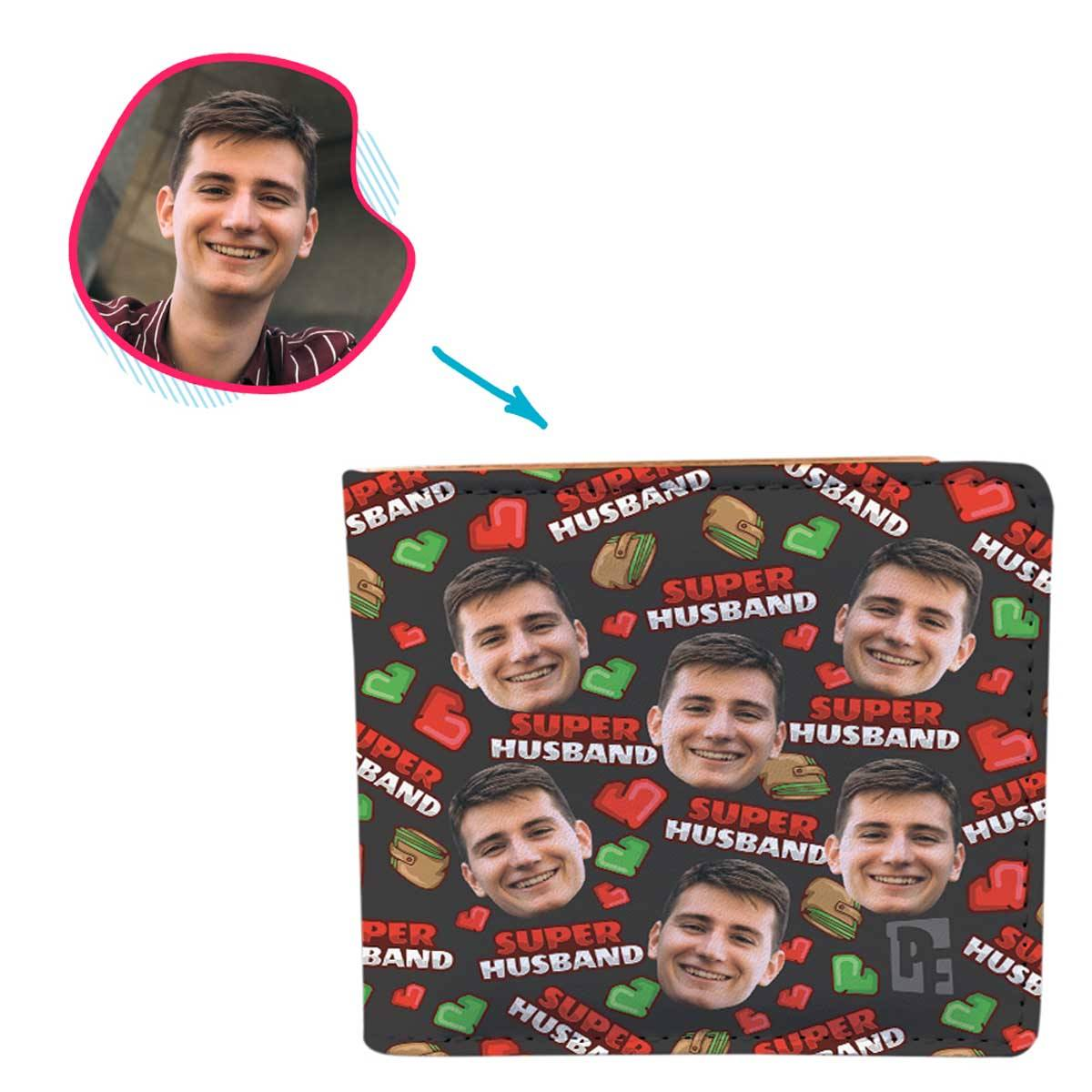 Dark Husband personalized wallet with photo of face printed on it