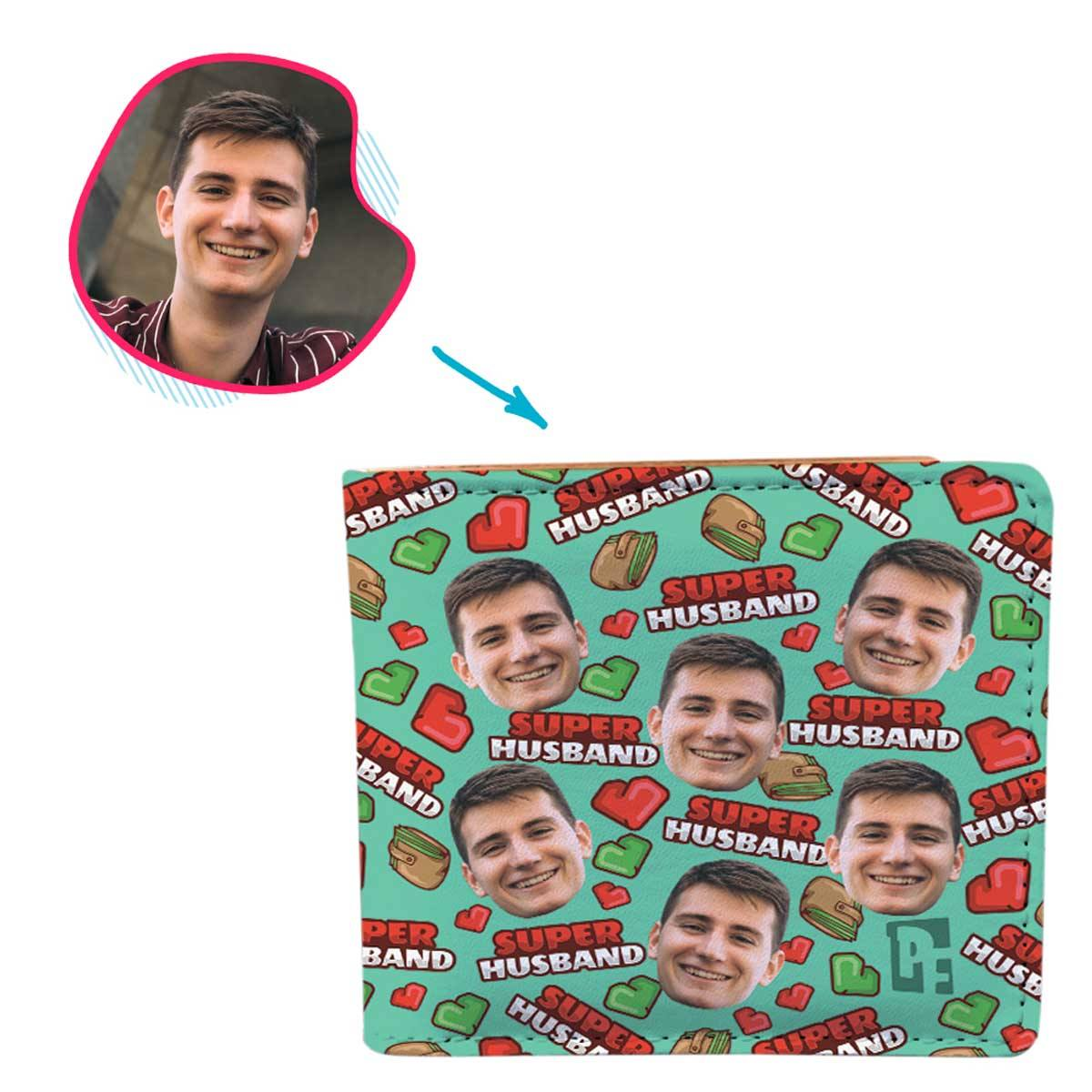 Mint Husband personalized wallet with photo of face printed on it