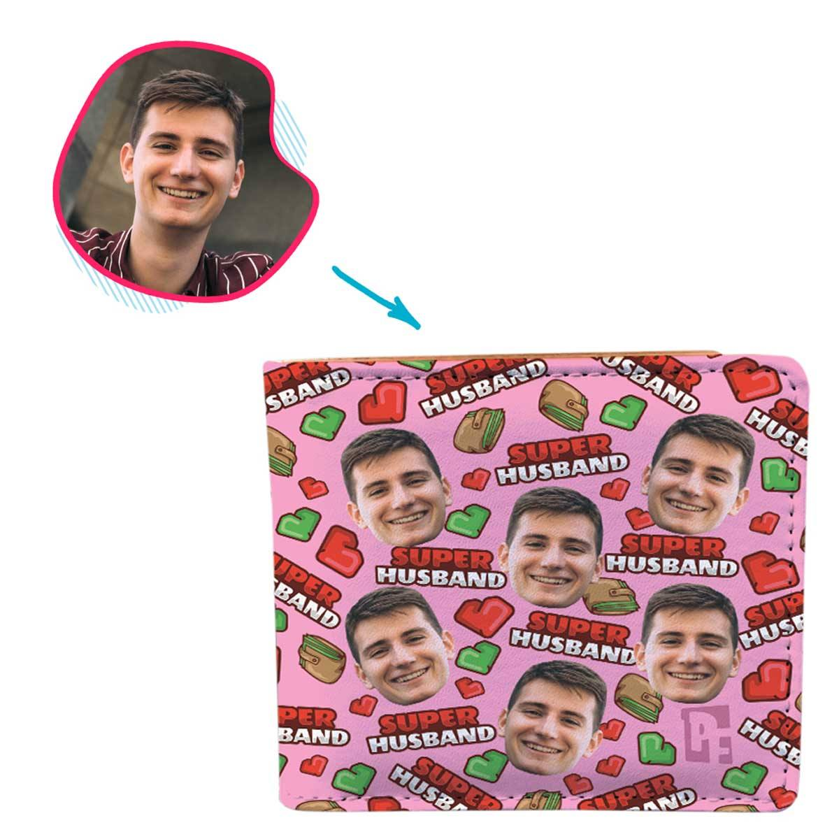 Pink Husband personalized wallet with photo of face printed on it