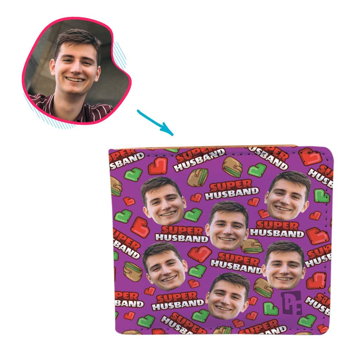 Purple Husband personalized wallet with photo of face printed on it