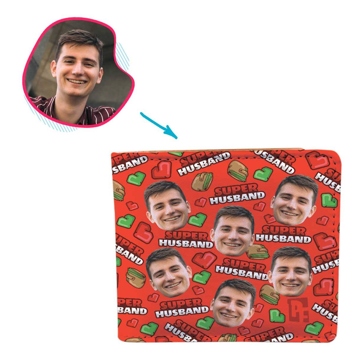 Red Husband personalized wallet with photo of face printed on it