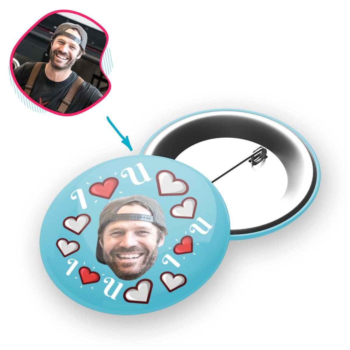 blue I <3 You pin personalized with photo of face printed on it