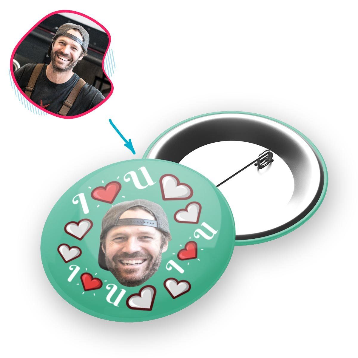mint I <3 You pin personalized with photo of face printed on it