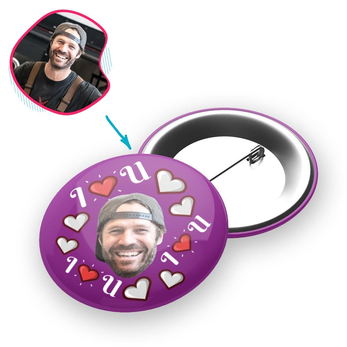 purple I <3 You pin personalized with photo of face printed on it