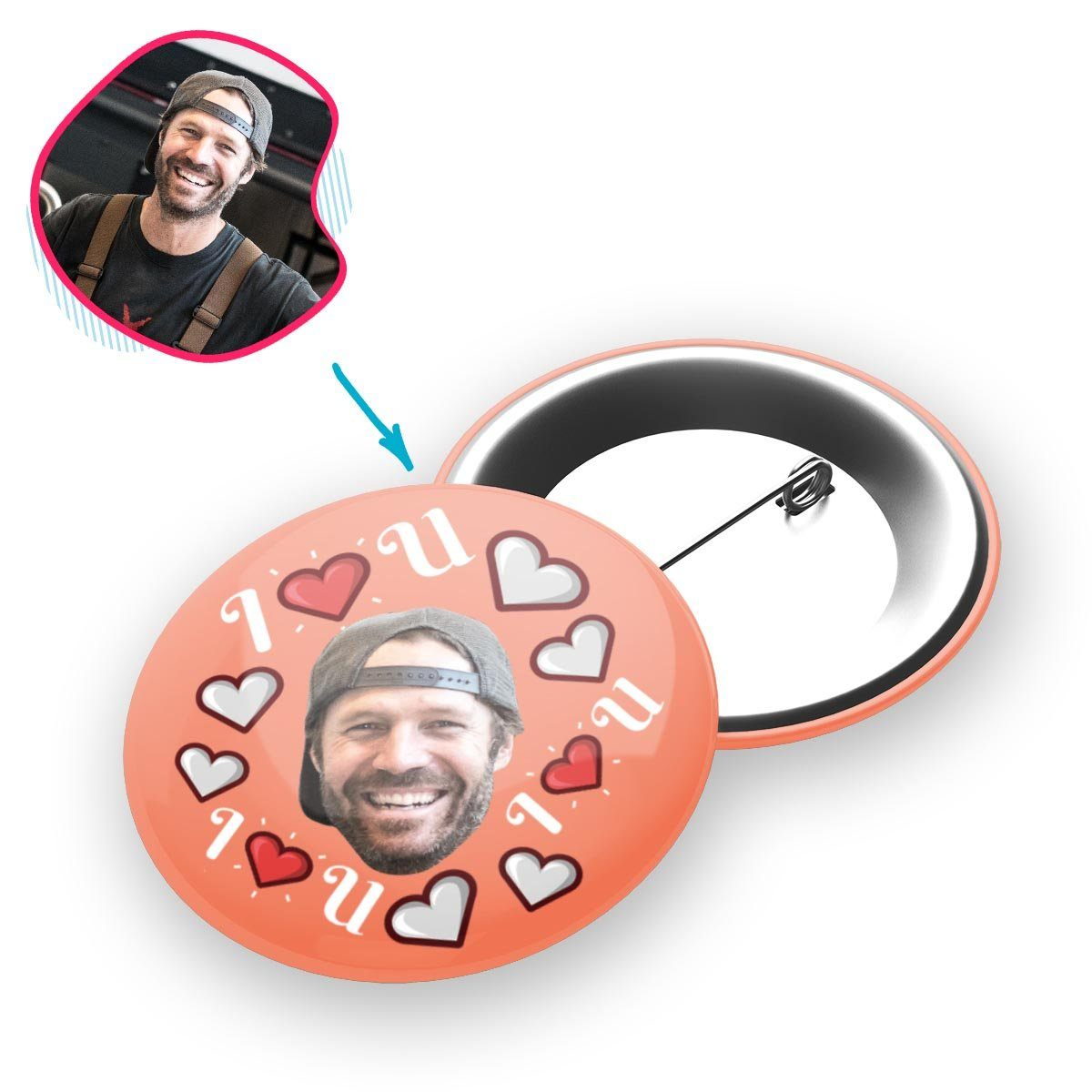 salmon I <3 You pin personalized with photo of face printed on it