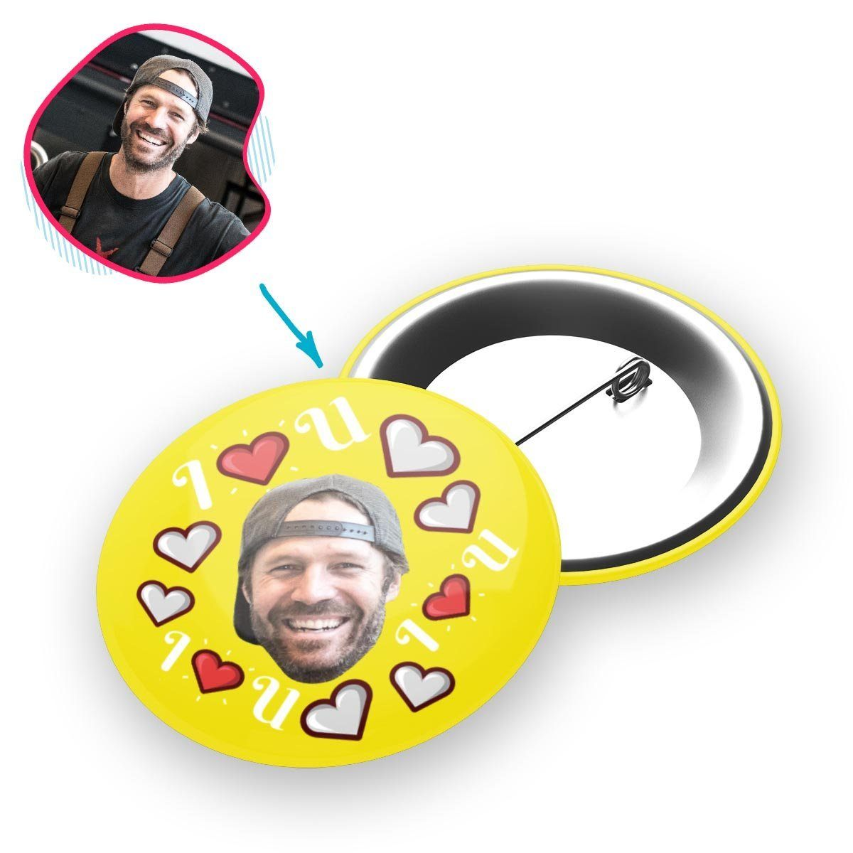 yellow I <3 You pin personalized with photo of face printed on it
