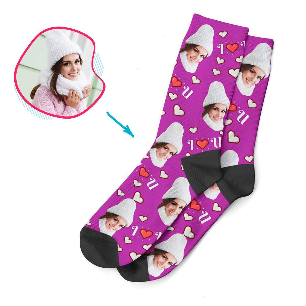 purple I <3 You socks personalized with photo of face printed on them