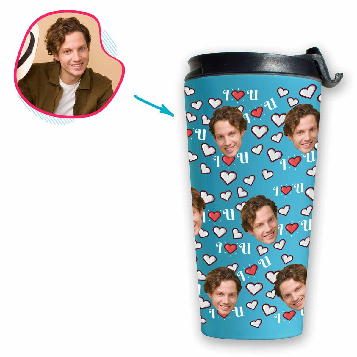 blue I <3 You travel mug personalized with photo of face printed on it