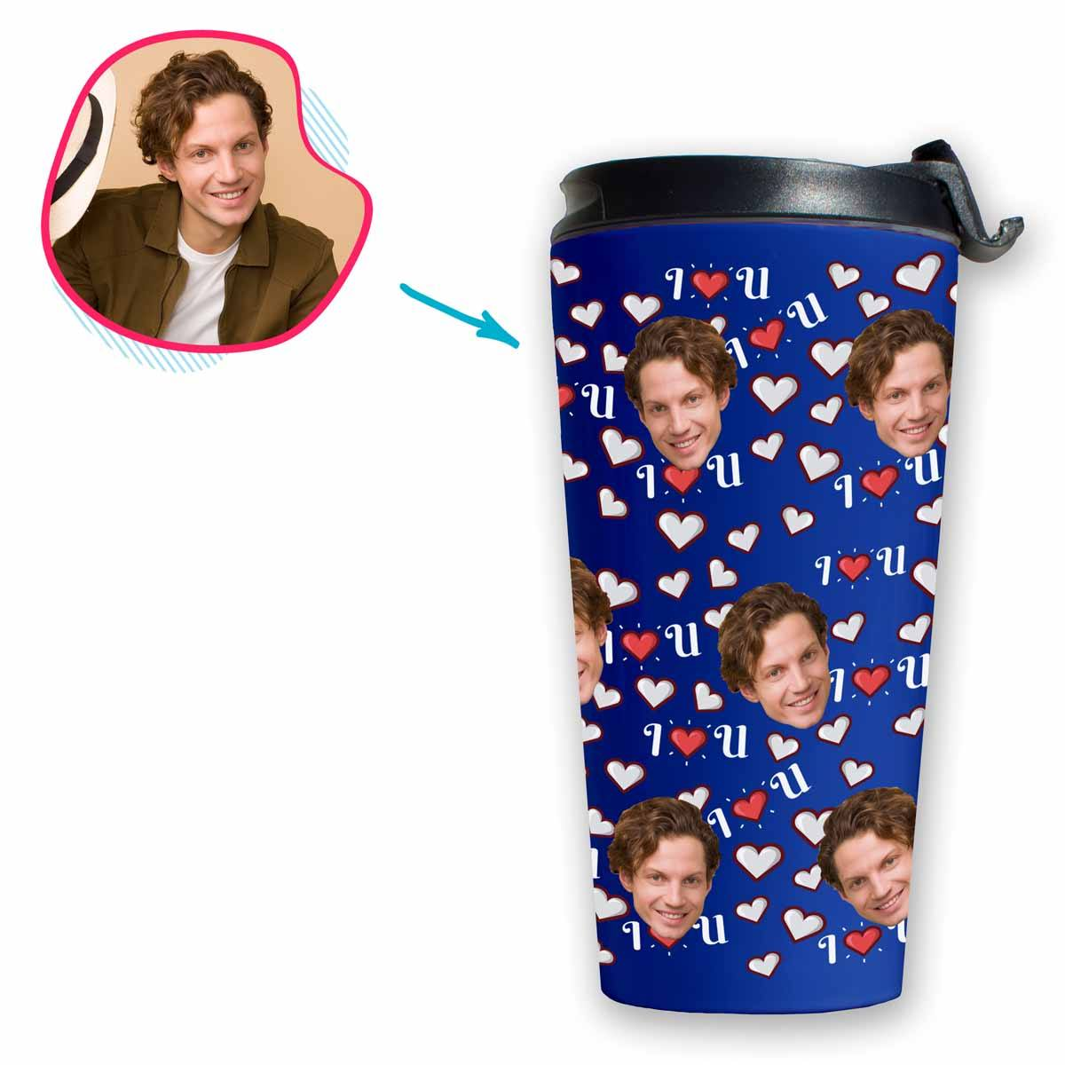 darkblue I <3 You travel mug personalized with photo of face printed on it