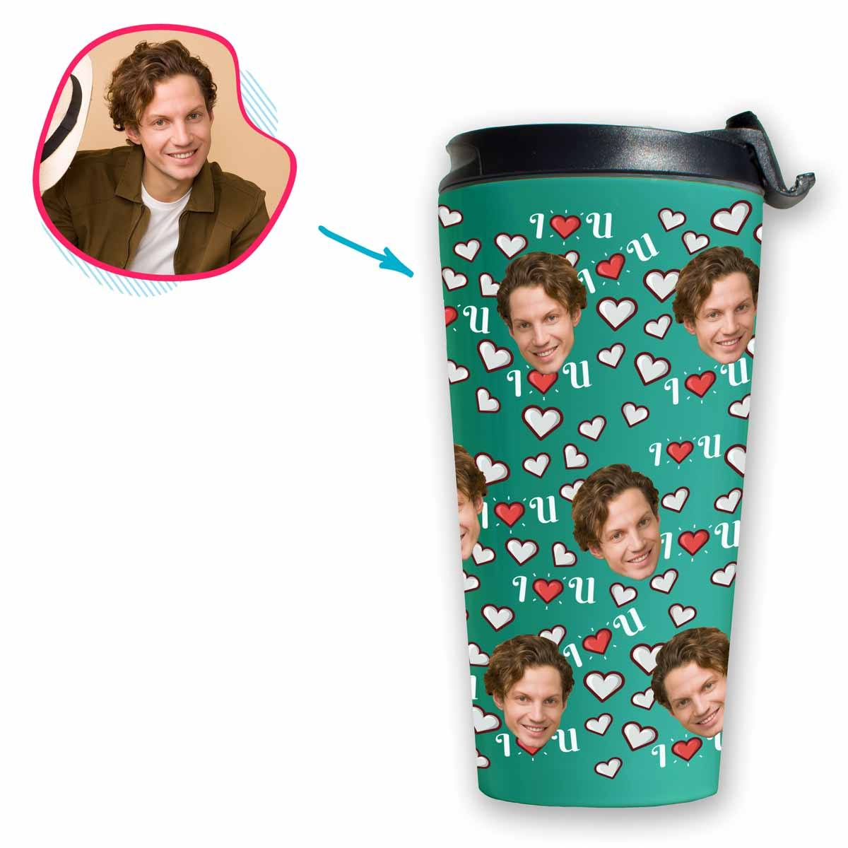 mint I <3 You travel mug personalized with photo of face printed on it