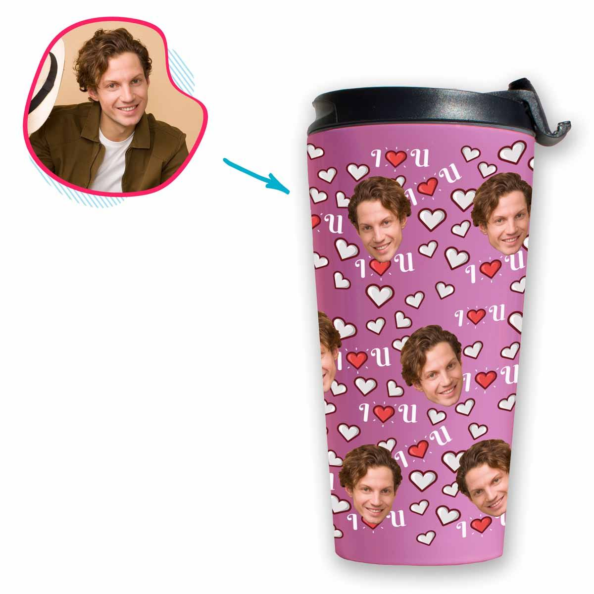 pink I <3 You travel mug personalized with photo of face printed on it